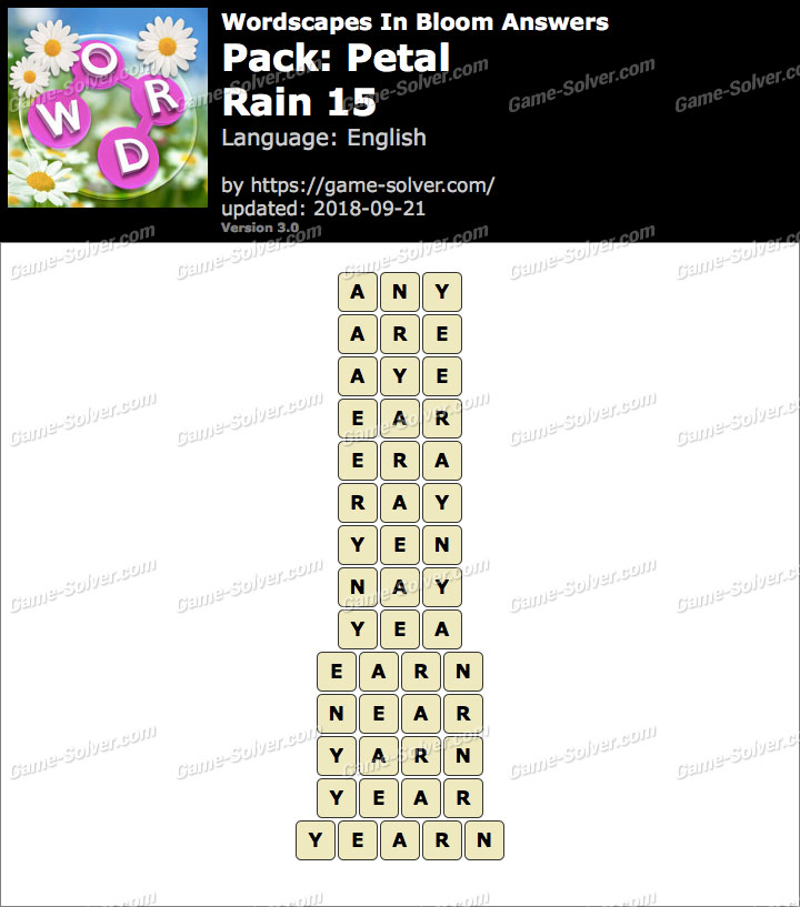 Wordscapes In Bloom Petal-Rain 15 Answers