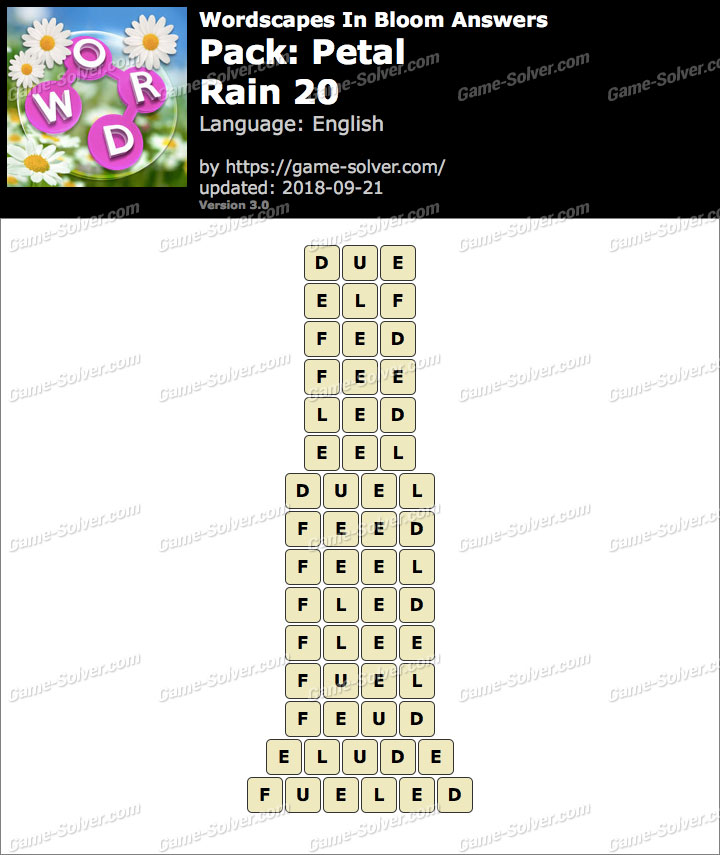 Wordscapes In Bloom Petal-Rain 20 Answers