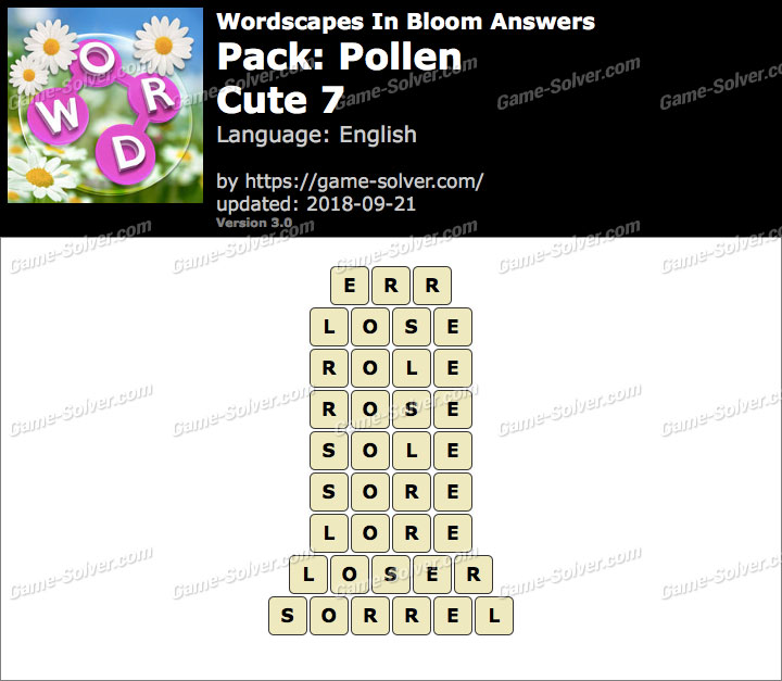 Wordscapes In Bloom Pollen-Cute 7 Answers