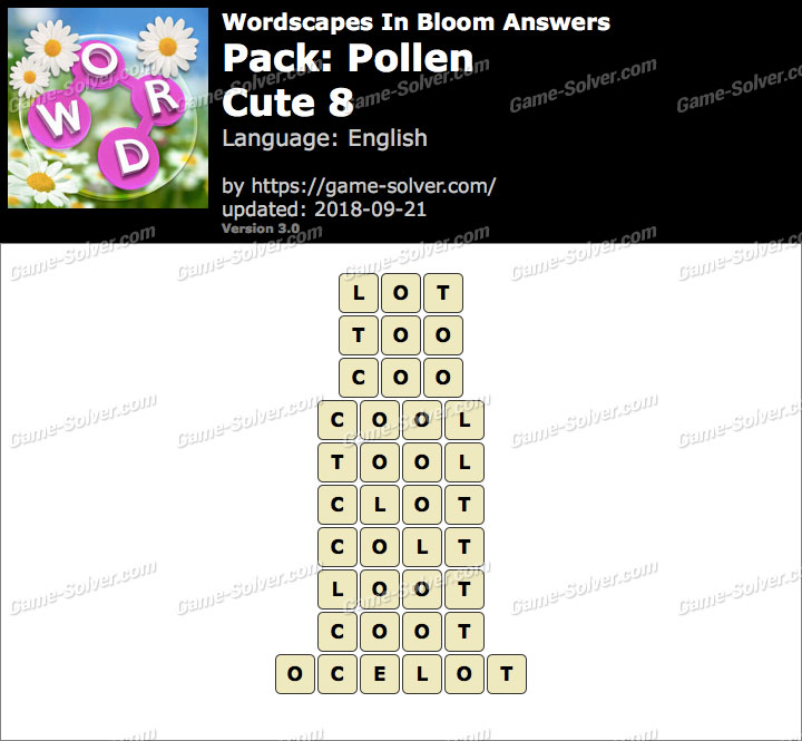 Wordscapes In Bloom Pollen-Cute 8 Answers