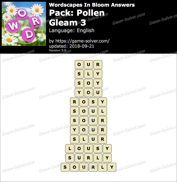 Wordscapes In Bloom Pollen-Gleam 3 Answers