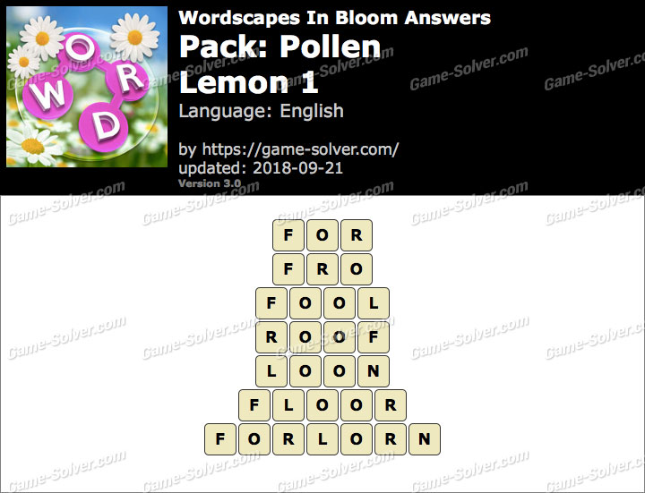 Wordscapes In Bloom Pollen-Lemon 1 Answers