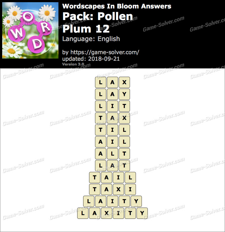 Wordscapes In Bloom Pollen-Plum 12 Answers