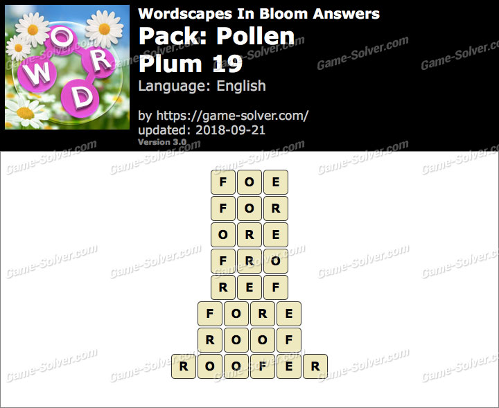 Wordscapes In Bloom Pollen-Plum 19 Answers