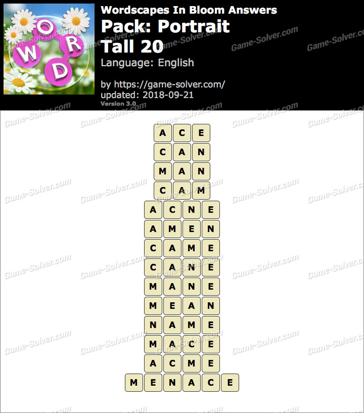 Wordscapes In Bloom Portrait-Tall 20 Answers