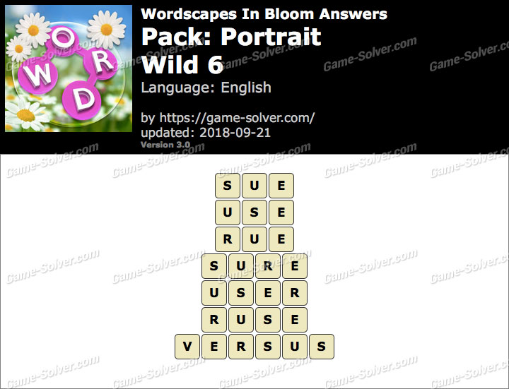 Wordscapes In Bloom Portrait-Wild 6 Answers