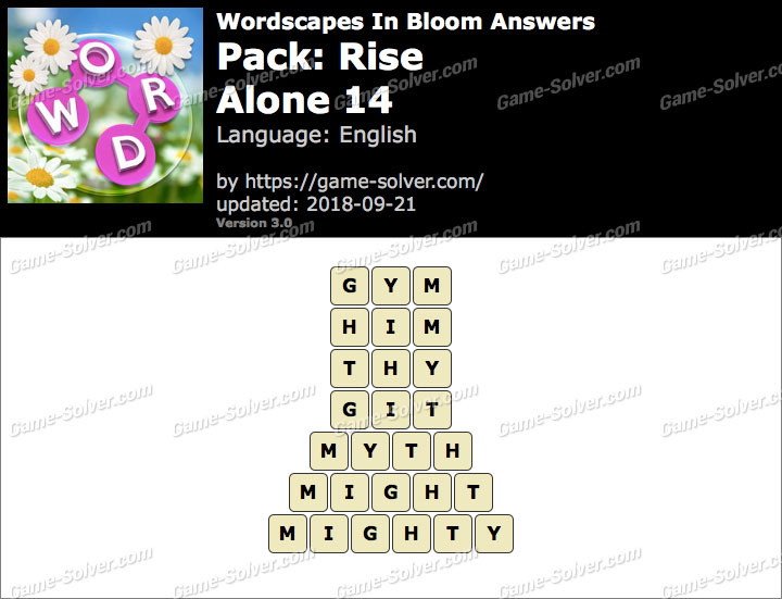 Wordscapes In Bloom Rise-Alone 14 Answers