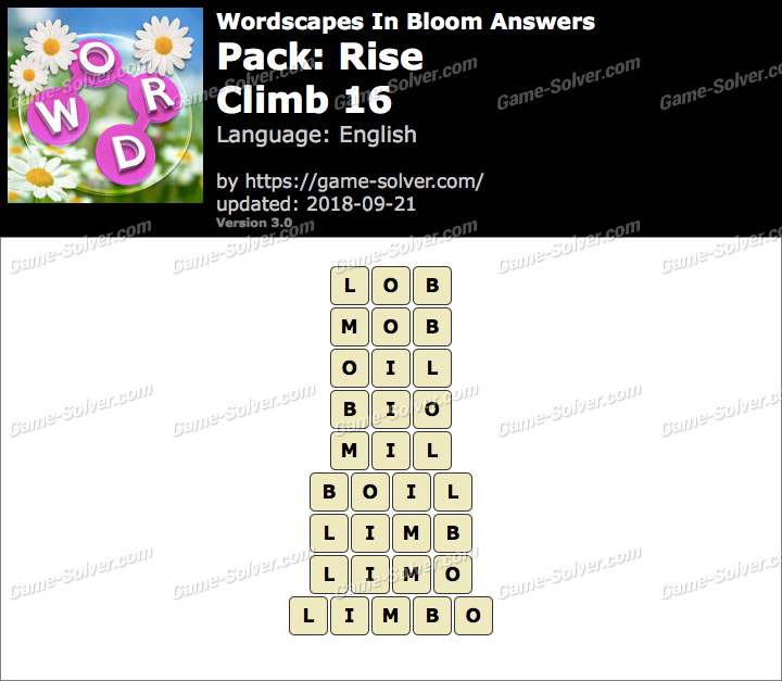 Wordscapes In Bloom Rise-Climb 16 Answers