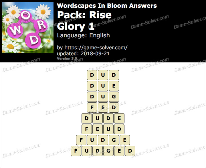 Wordscapes In Bloom Rise-Glory 1 Answers