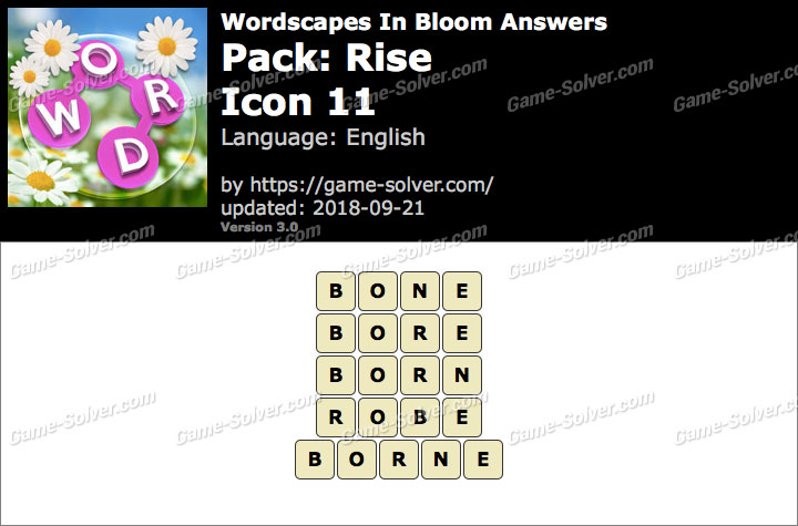 Wordscapes In Bloom Rise-Icon 11 Answers