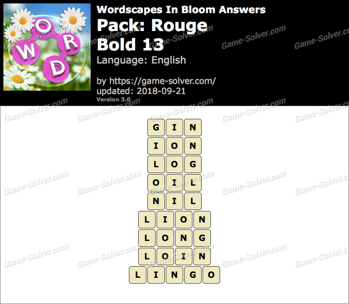 Wordscapes In Bloom Rouge-Bold 13 Answers