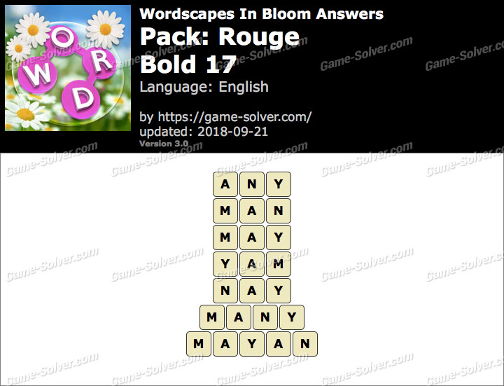 Wordscapes In Bloom Rouge-Bold 17 Answers