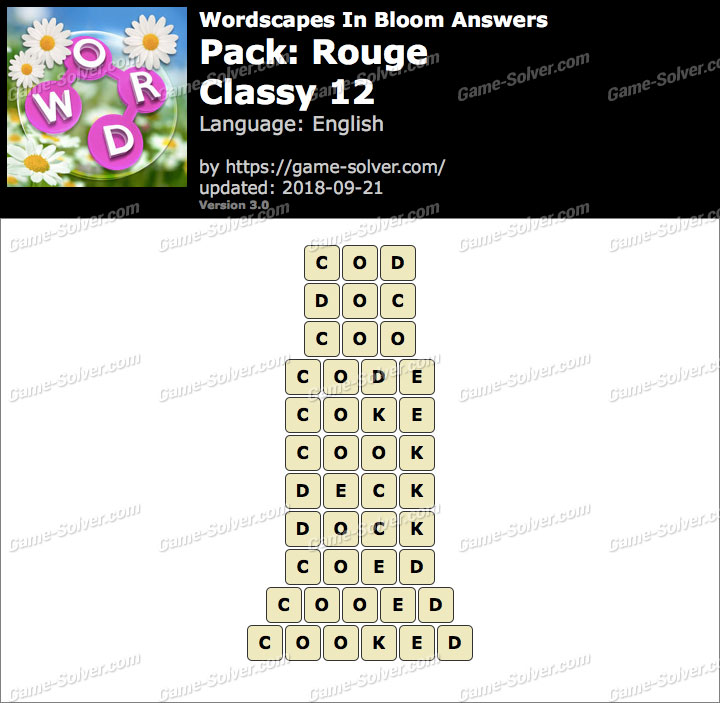 Wordscapes In Bloom Rouge-Classy 12 Answers