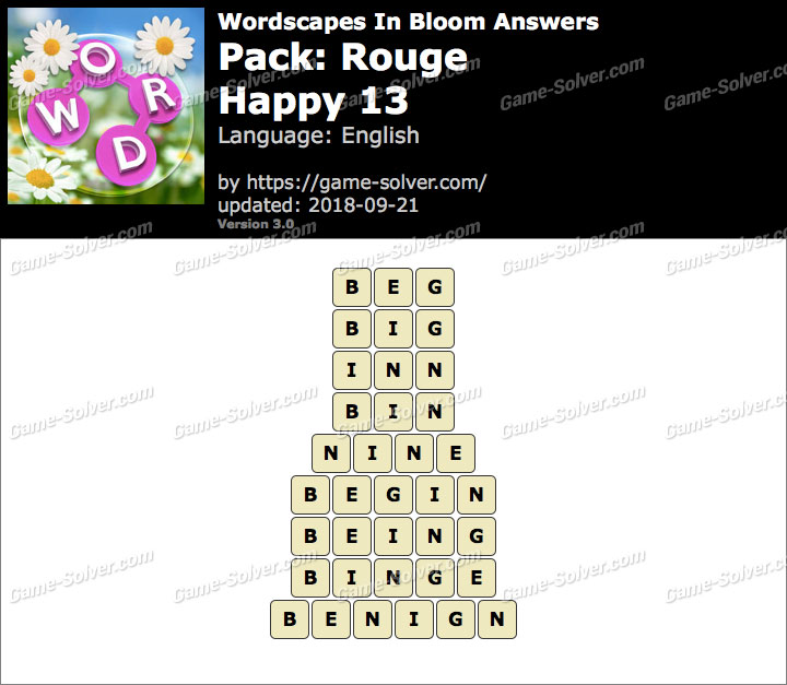 Wordscapes In Bloom Rouge-Happy 13 Answers