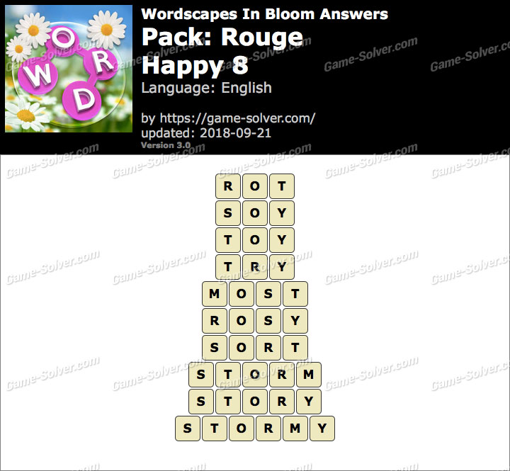 Wordscapes In Bloom Rouge-Happy 8 Answers