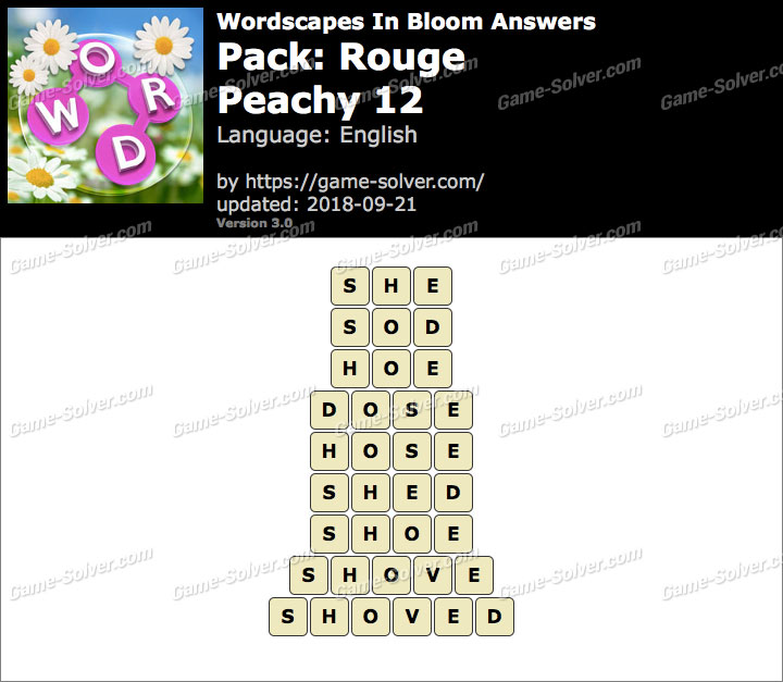 Wordscapes In Bloom Rouge-Peachy 12 Answers