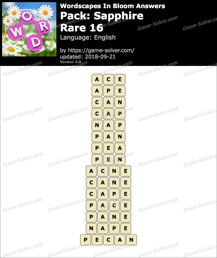 Wordscapes In Bloom Sapphire-Rare 16 Answers