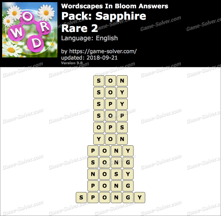 Wordscapes In Bloom Sapphire-Rare 2 Answers