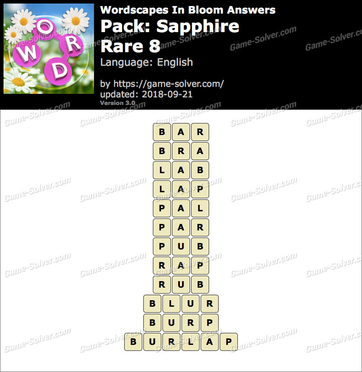 Wordscapes In Bloom Sapphire-Rare 8 Answers