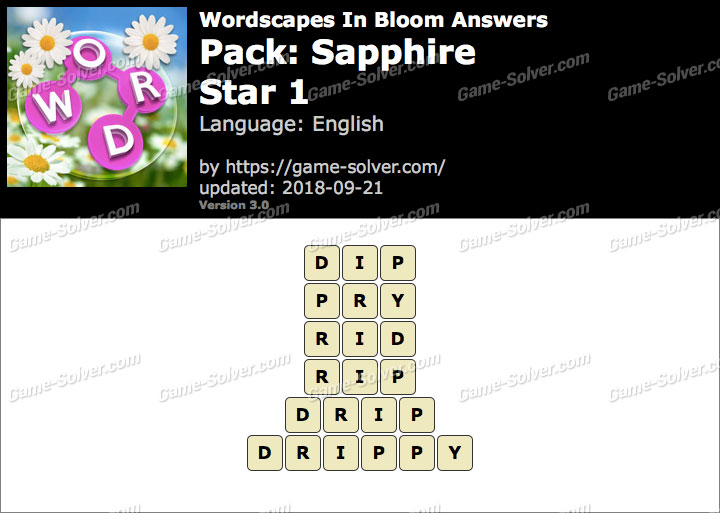 Wordscapes In Bloom Sapphire-Star 1 Answers