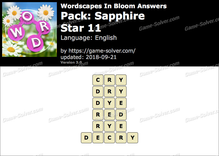 Wordscapes In Bloom Sapphire-Star 11 Answers