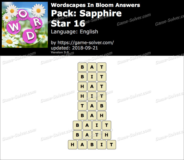 Wordscapes In Bloom Sapphire-Star 16 Answers