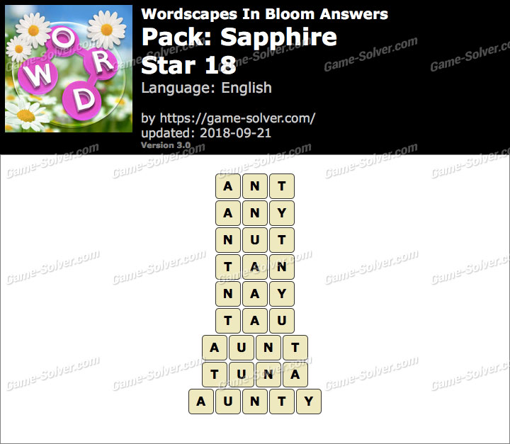 Wordscapes In Bloom Sapphire-Star 18 Answers