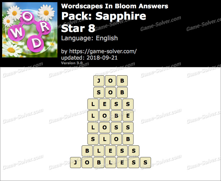 Wordscapes In Bloom Sapphire-Star 8 Answers