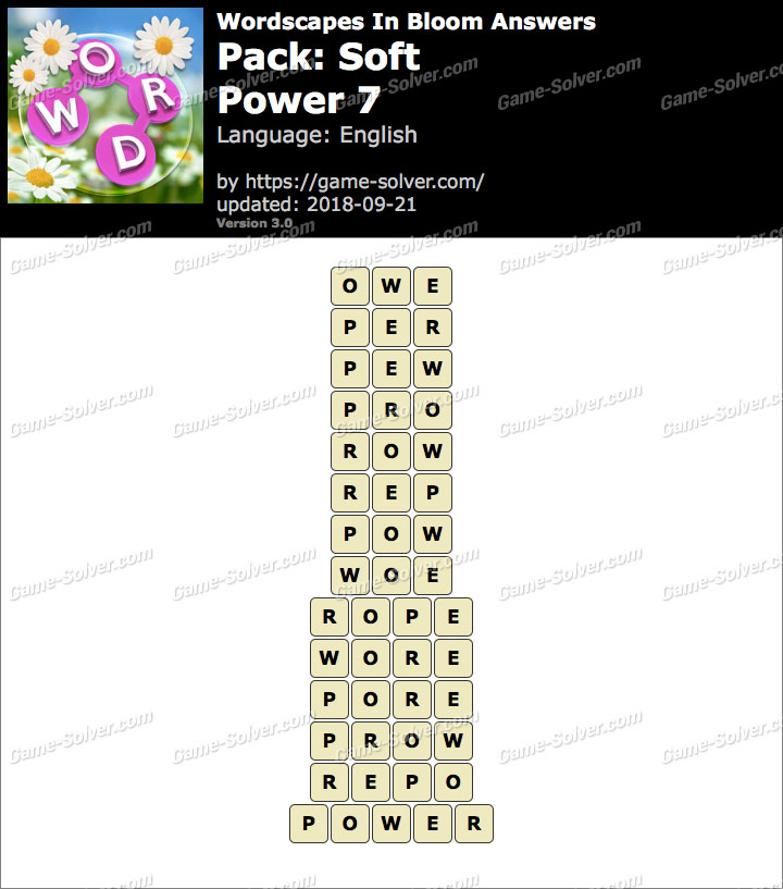 Wordscapes In Bloom Soft-Power 7 Answers