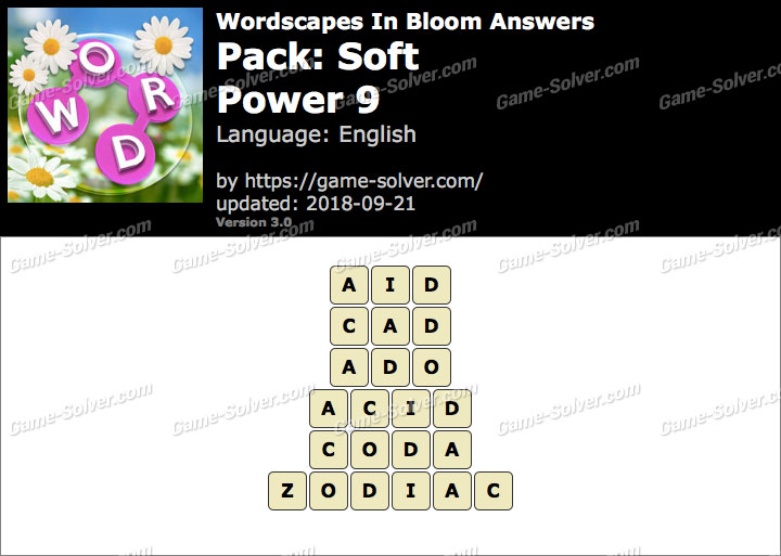 Wordscapes In Bloom Soft-Power 9 Answers