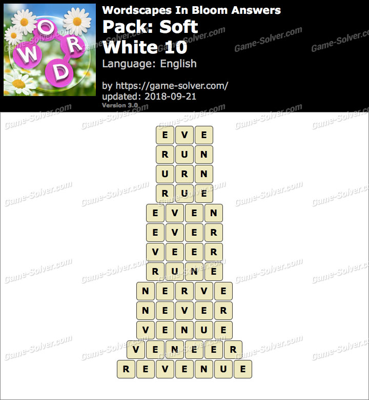 Wordscapes In Bloom Soft-White 10 Answers