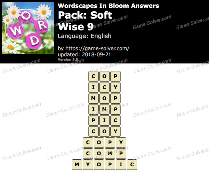 Wordscapes In Bloom Soft-Wise 9 Answers