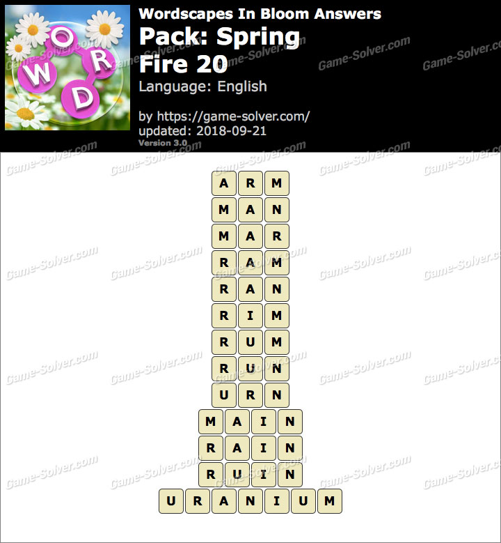 Wordscapes In Bloom Spring-Fire 20 Answers