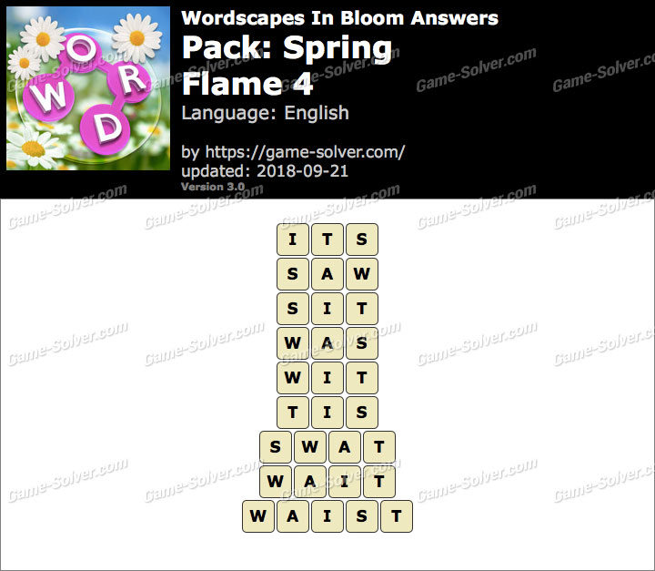 Wordscapes In Bloom Spring-Flame 4 Answers