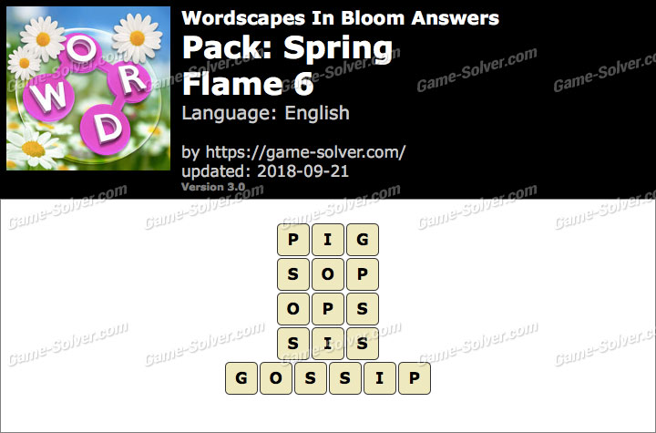 Wordscapes In Bloom Spring-Flame 6 Answers