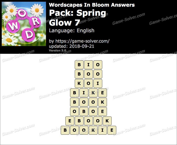 Wordscapes In Bloom Spring-Glow 7 Answers