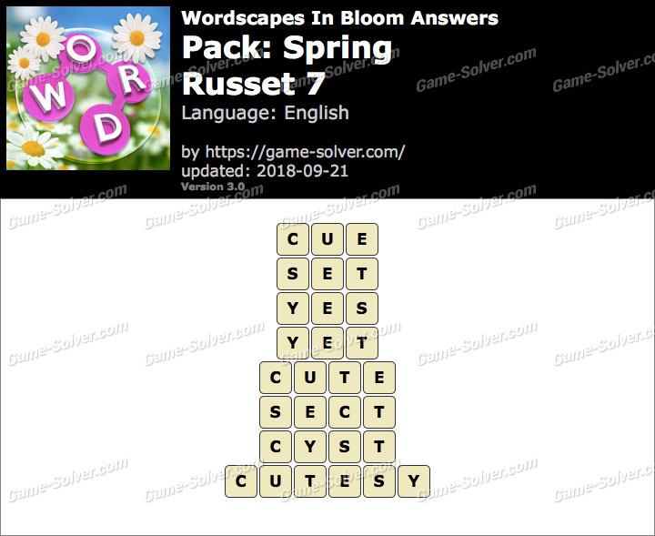 Wordscapes In Bloom Spring-Russet 7 Answers