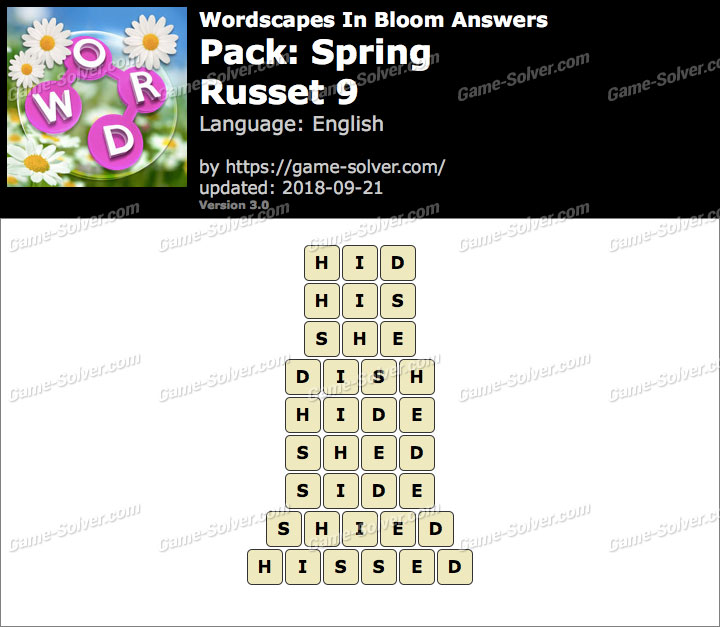 Wordscapes In Bloom Spring-Russet 9 Answers