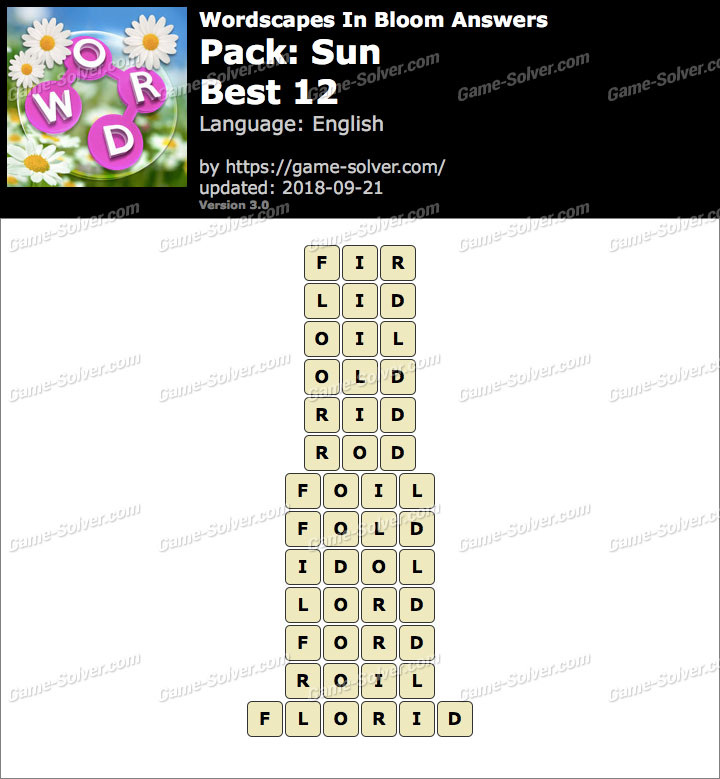 Wordscapes In Bloom Sun-Best 12 Answers
