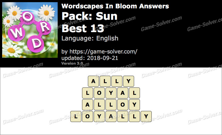 Wordscapes In Bloom Sun-Best 13 Answers