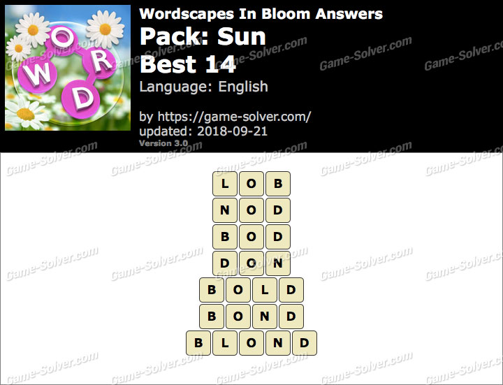 Wordscapes In Bloom Sun-Best 14 Answers