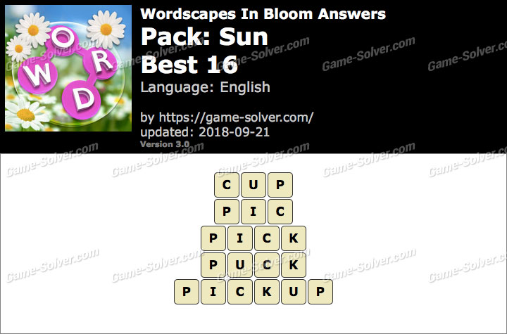 Wordscapes In Bloom Sun-Best 16 Answers