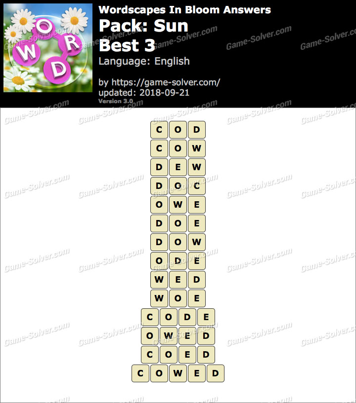 Wordscapes In Bloom Sun-Best 3 Answers