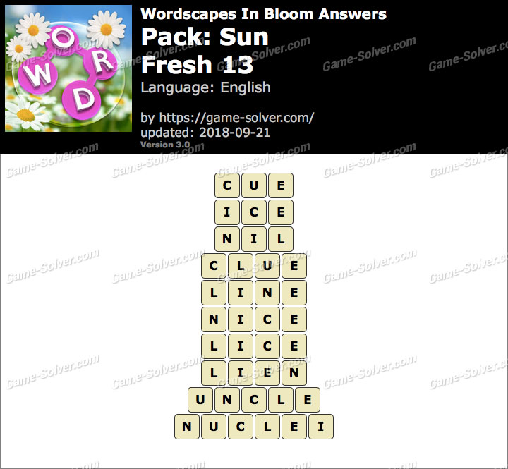 Wordscapes In Bloom Sun-Fresh 13 Answers