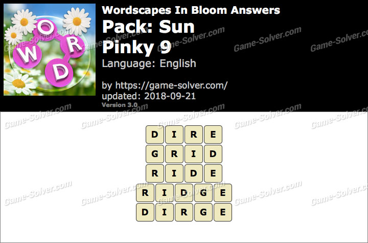Wordscapes In Bloom Sun-Pinky 9 Answers