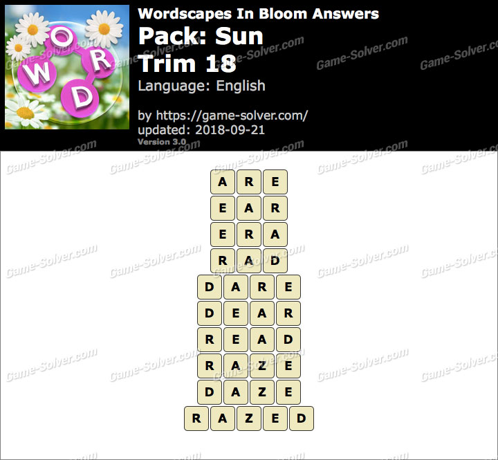 Wordscapes In Bloom Sun-Trim 18 Answers