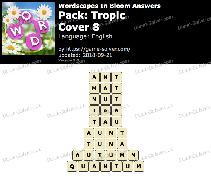 Wordscapes In Bloom Tropic-Cover 8 Answers