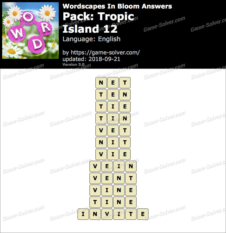 Wordscapes In Bloom Tropic-Island 12 Answers