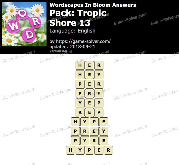 Wordscapes In Bloom Tropic-Shore 13 Answers