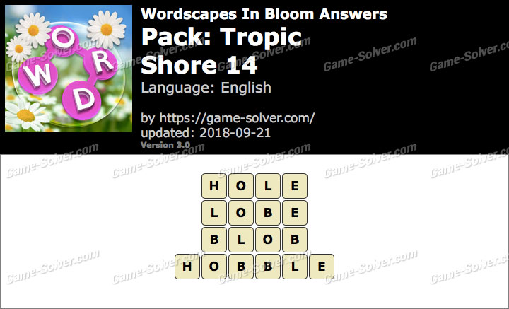 Wordscapes In Bloom Tropic-Shore 14 Answers